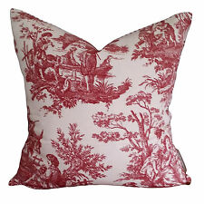 Country Life Toile Designer Vintage French Provincial Cushion Pillow Cover Red