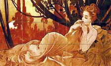 Art Nouveau Dust Alphonse Mucha Ceramic Mural Backsplash Bath Tile 2421