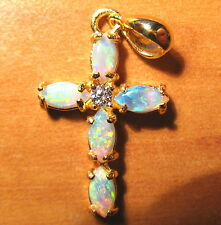 """OPAL """"Cross"""" PENDANT -   Beautiful   Sterling Silver with 18K GP ...  No 412"""