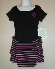 Bonnie Jean Girls Three (3) Tier Dropped Waist Dress Black & Pink 3/3T NWT