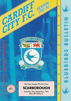 Cardiff City v Scarborough 21 Sep 1991 Football Programme