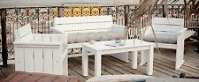 7tlg Loungegruppe Sitzgruppe Massivholz weiß Bank Sessel Gartenmöbel Set Shabby