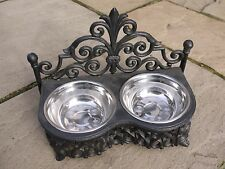 Small Shabby Chic Antique Cast Iron Pet DOG CAT Bowl Dish Two Steel Bowls NEW