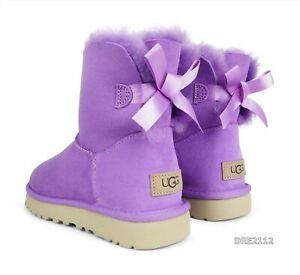 UGG Bailey Bow Mini II Magnolia Suede Fur Boots Womens Size 7 *NIB*