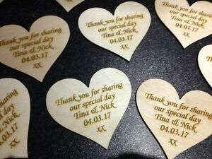 Personalised Engraved Wooden Hearts Wedding Favours Table Decorations