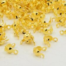 100x Iron End Gold Plated Open 2 Rings Clamshells Calottes Jewellery Making