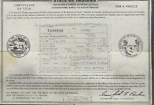 1949 Willys 2 Door Station Wagon Indiana Title Signed Historical Document