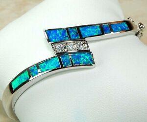 Australian Opal Inlay & Topaz 925 Solid Sterling Silver Bangel Bracelet Jewelry