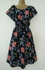 NEW LOOK MATERNITY BLACK FLORAL SKATER TEA DRESS SIZE 18 BLUE RED PRINT