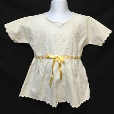 VTG Baby Dress Toddler Girl Yellow Ribbon Summer Floral Embroidery Scalloped Hem