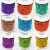 2/5/10/100yds Plated Cable Iron Metal Chain Finding 3x2mm Multi-Color For Choose