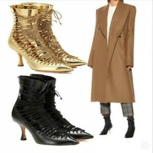 Fashion Runway Women Patent Leather Back Zip Pointy Toe Formal Ankle Boots Shoes