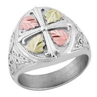 Landstrom's® Black Hills Gold on Sterling Silver Men's Cross Ring Size 9 - 14