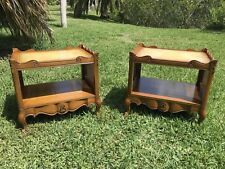 Pair Antique Vintage Country French Provincial Nightstands End Table Mid Century