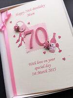 PERSONALISED 70th BIRTHDAY CARD FOR MUM GRANDMA NANNY WIFE handmade gift boxed