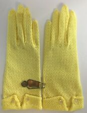 Vintage New Old Stock Women's Lace Stretch Yellow Gloves Nos