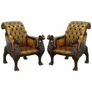 STUNNING PAIR OF HUGE HAND CARVED GRIFFIN BROWN LEATHER CHESTERFIELD ARMCHAIRS