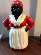 Vintage Cast Iron Black Americana Lady  Piggy Bank