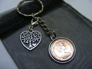 1971 Half Pence Coin & Tree Of Life Heart Charm Keyring - 50th Birthday Gift