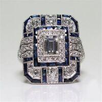 Womens Antique Ring Victorian Art Nouveau Edwardian Zirconia Sapphires Diamonds