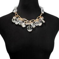 Fashion Girl Irregular Transparent Crystal Pendant Chain Choker Necklace Jewelry