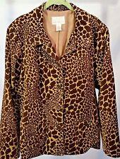 Susan Graver Corduroy Jacket Blazer Womens Sz XL Animal Print Browns Fully Lined