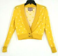 Juicy Couture Womens Open Front Yellow Polka Dot Long Sleeve Cardigan Wool Sz S