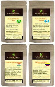 Kaffee Probierpaket 4x100g Probierset ♥ Brasilien Guatemala Malabar Kolumbien