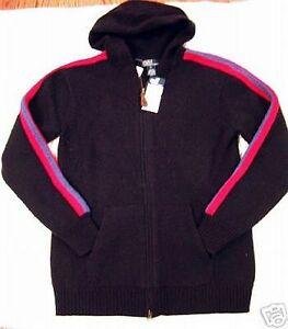 New Polo Ralph Lauren Boys Navy Blue Red Wool Zip Sweater Cardigan 18 20 Hoodie