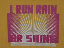 The North Face Womens Size L Large Yellow I Run Rain Or Shine Crewneck T Shirt