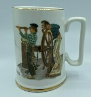 Vintage Norman Rockwell Museum Coffee Mug Cup Gold Trim Collectible River Pilot