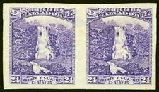 Salvador #154 24c Rare Violet Not Blue 1896 Imperf Pair Scarce Stamp Pair