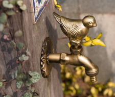 Brass Garden Tap Faucet Bird Spigot Vintage Yard Water Home Decor Outdoor