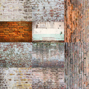 Retro Brick Wall Background Backdrop Flowery Photo Studio Photography Props
