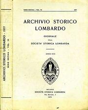 Archivio Storico Lombardo. GIORNALE DELLA SOCIETA' STORICA LOMBARDA. 1979. RISTA