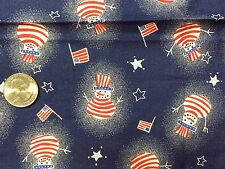 "JoAnn's Cotton Patriotic Snowman FQ Fat Quarter Quilting Fabric 18""x 21"" PreCut"