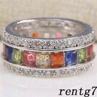 Sapphire Ring Sz Bridal Jewelry Gem Silver 5-12 Fashion Multi-Color Plated Women