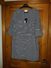 NEXT NAVY & WHITE STRIPE FRILL SLEEVE DRESS UK 10 EUR 38 NEW WITH TAG