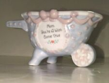 Enesco Precious Moments 1995 ~ Mom You're a Wish Come True ~ Small Wheel Barrow
