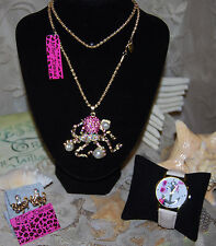BETSEY JOHNSON 3 PC SET AB CRYSTALS PEARL OCTOPUS NECKLACE EARRINGS ANCHOR WATCH