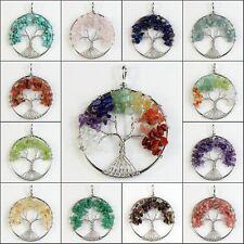 Natural Amethyst Rhodochrosite Peridot Chip Beads Tree of Life Silver Pendant