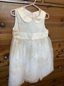 Janie And Jack Girls Ivory Embroidered Organza Size 3T