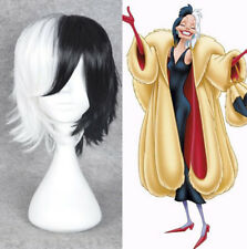 HOt CRUELLA DEVIL 101Dalmatians Cosplay short half black white hair full wigs