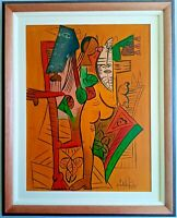 NICE WILFREDO LAM OIL ON CANVAS SURREALISM PAINTING 1952 WITH FRAME