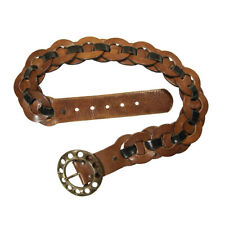 Ibex of England Brown Leather Belt with Round Links & Large Rotary Brass Buckle