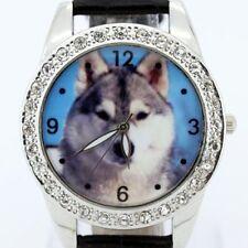 Big Animal Wolf Black Leather Crystal Quartz Sport Wrist Watch L16H
