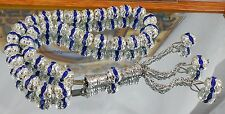 Rare İslamic Prayer Worry Beads Blue Crystal & Sterling Tasbih Gebetskette 8 mm