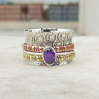 Amethyst 925 Sterling Silver Spinner Ring Meditation Statement Jewelry A200