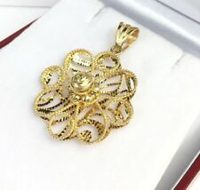 14k Solid Yellow Gold 3D Cute Flower Charm/ Pendant. Diamond Cut. 3.40 Grams