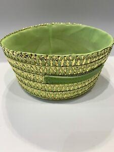 Medium Green Gold Round Basket  Woven Home Storage Hamper Handle